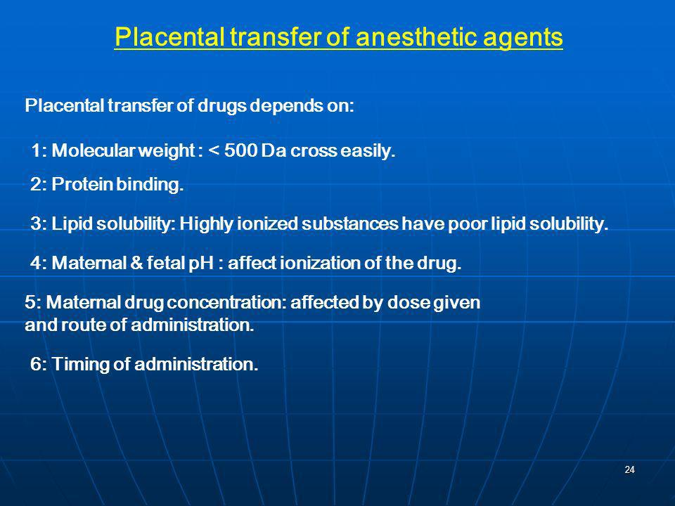 Placental transfer of anesthetic agents