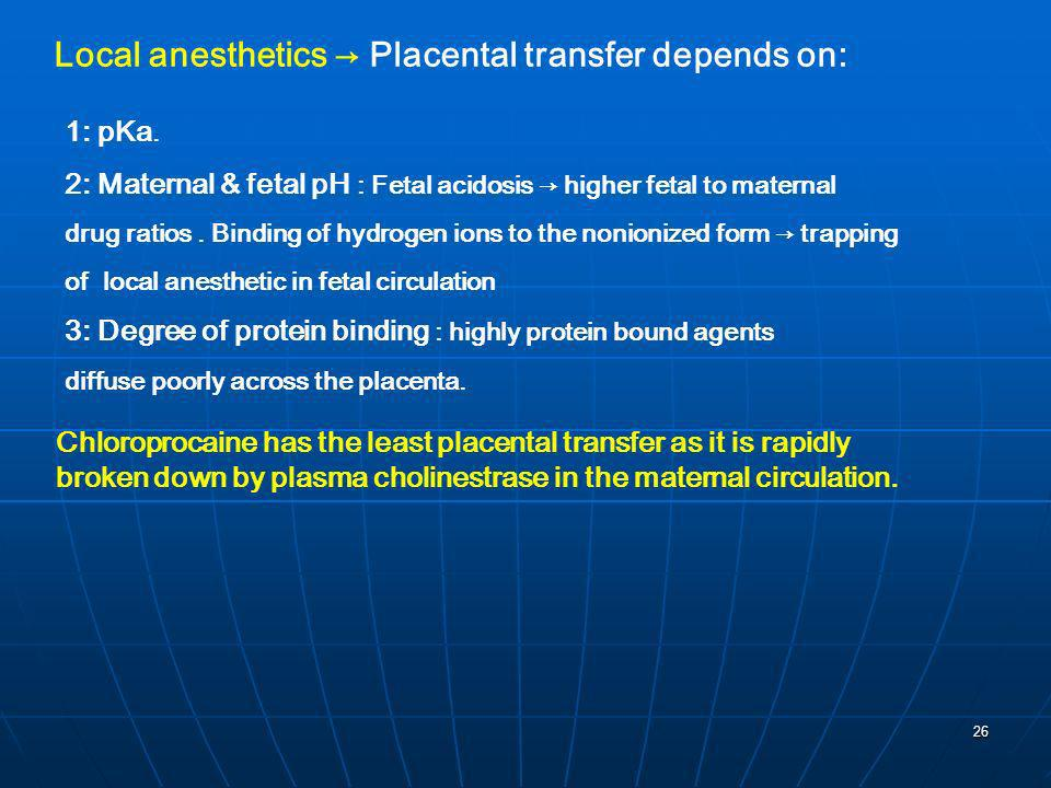 Local anesthetics → Placental transfer depends on: