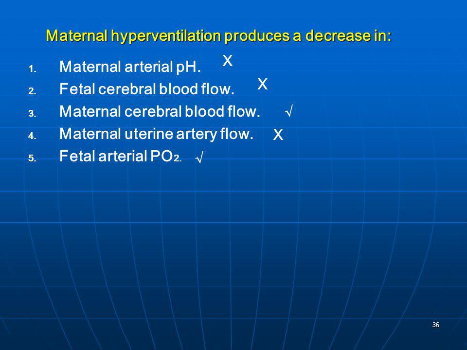 Maternal hyperventilation produces a decrease in: