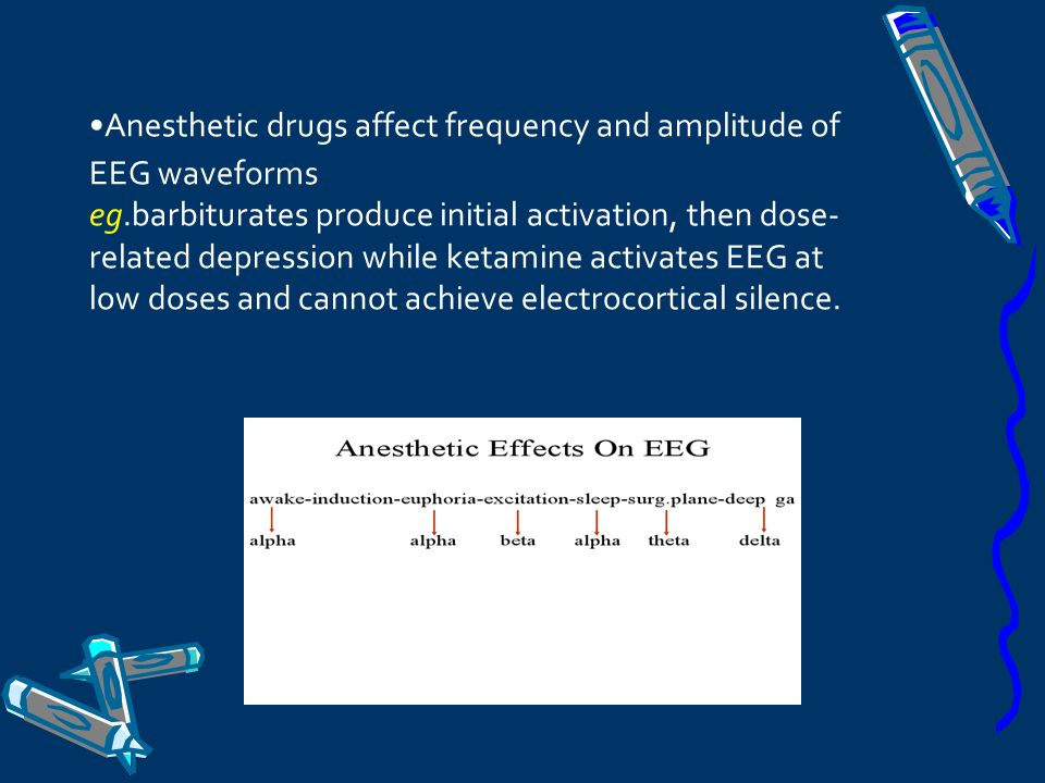 Anesthetic drugs affect frequency and amplitude of EEG waveforms eg