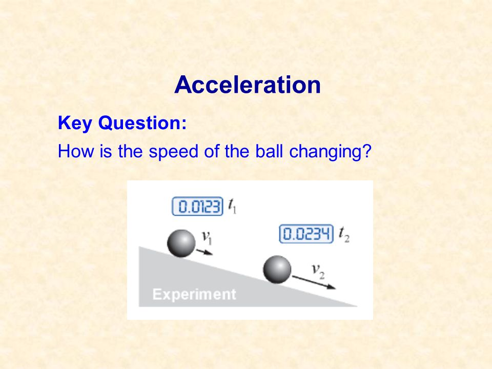 Acceleration Key Question: How is the speed of the ball changing