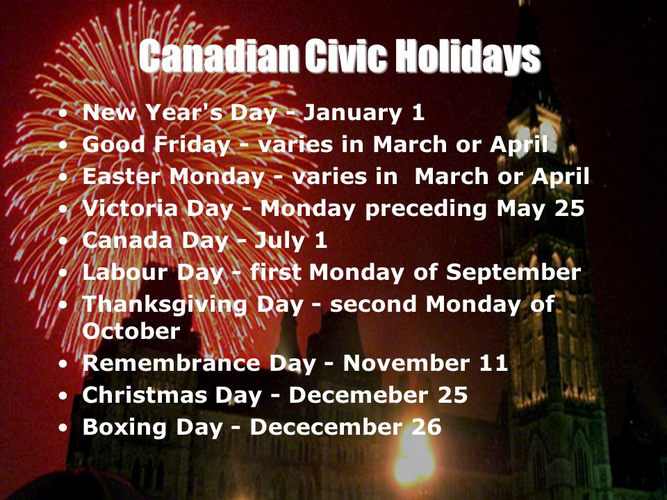 Canadian Civic Holidays