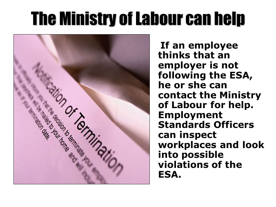 The Ministry of Labour can help