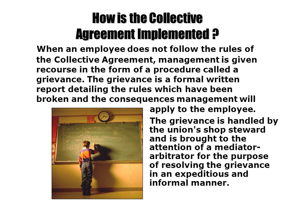How is the Collective Agreement Implemented