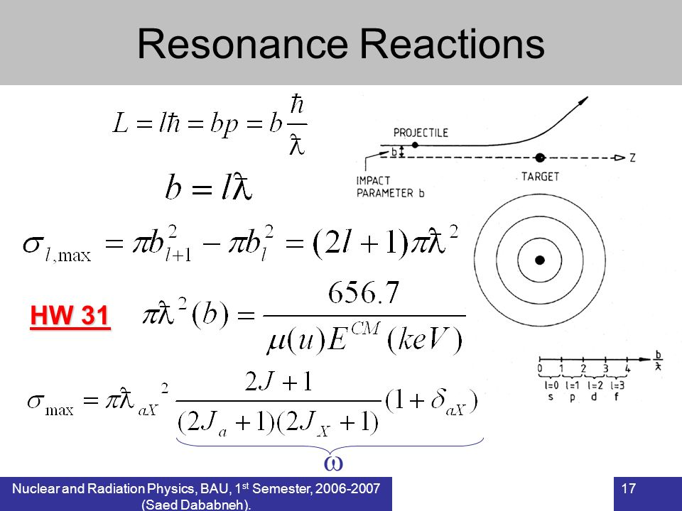 Resonance Reactions  HW 31