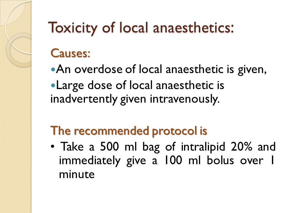 Toxicity of local anaesthetics: