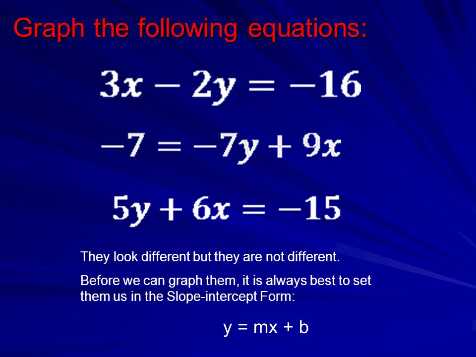 Graph the following equations: