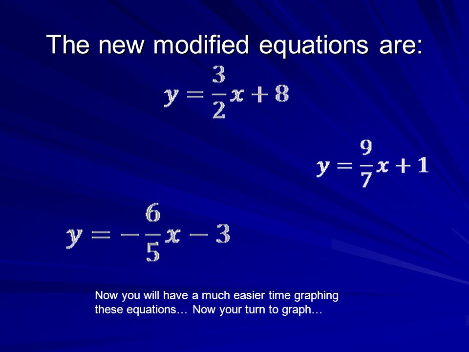 The new modified equations are: