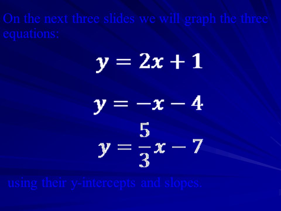 On the next three slides we will graph the three equations:
