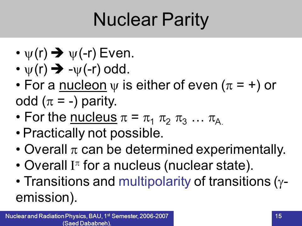 Nuclear Parity (r)  (-r) Even. (r)  -(-r) odd.