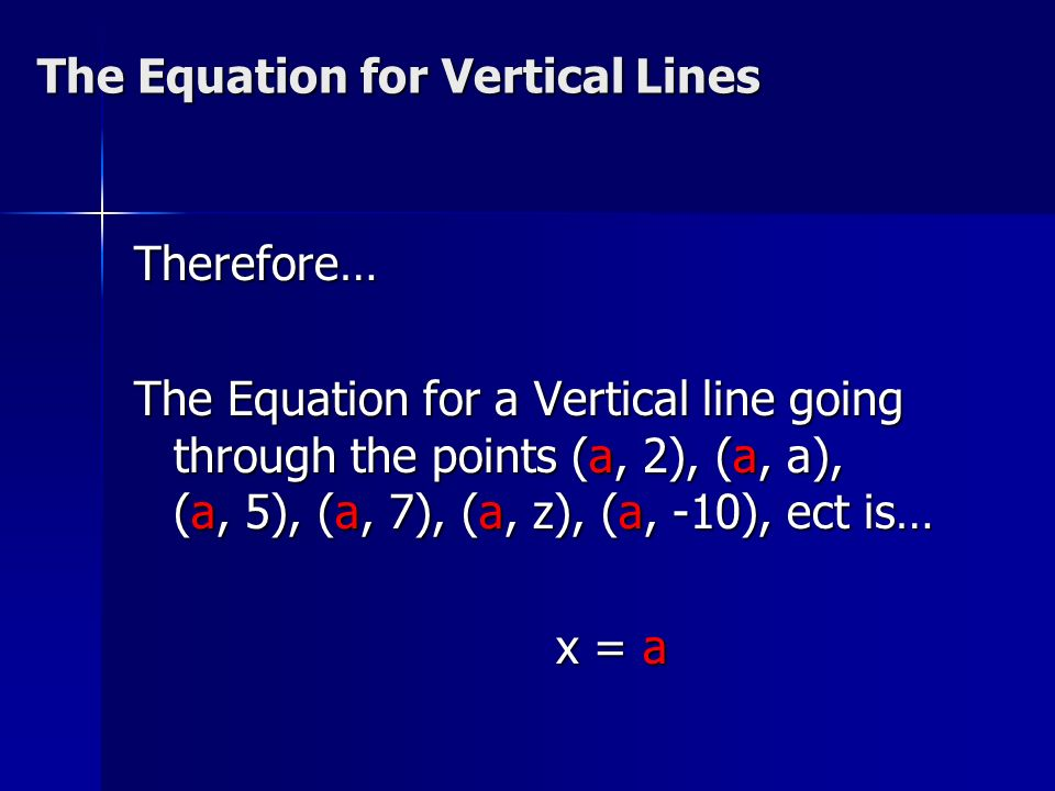 The Equation for Vertical Lines