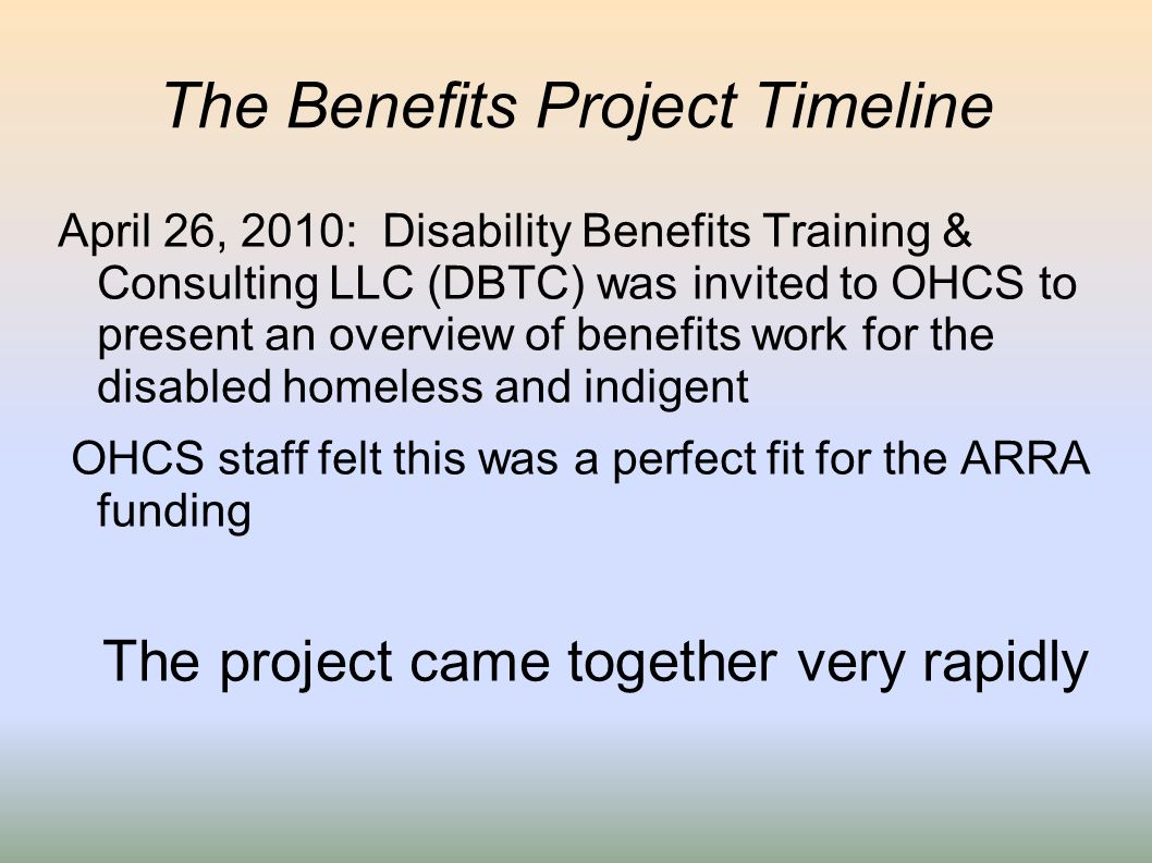 The Benefits Project Timeline