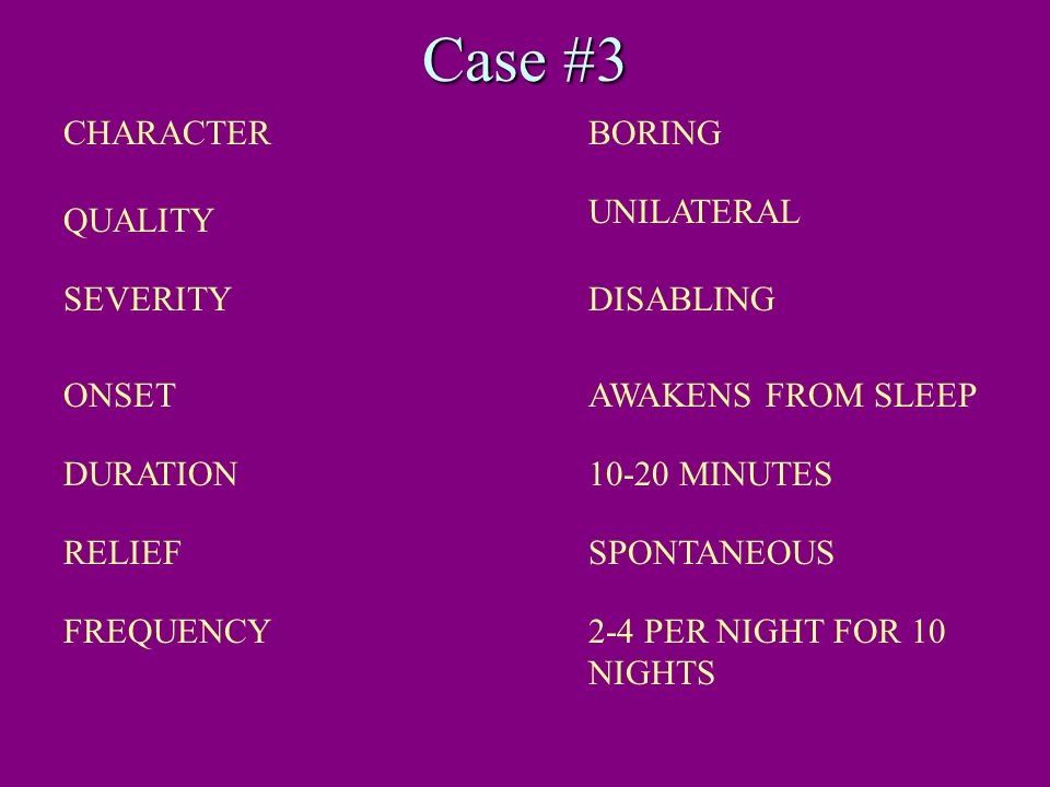 Case #3 CHARACTER BORING UNILATERAL QUALITY SEVERITY DISABLING ONSET