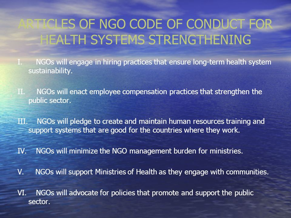ARTICLES OF NGO CODE OF CONDUCT FOR HEALTH SYSTEMS STRENGTHENING