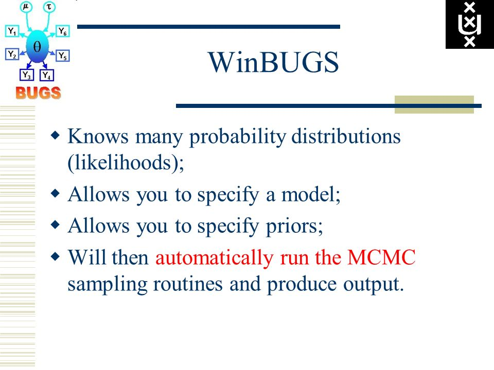 WinBUGS Knows many probability distributions (likelihoods);