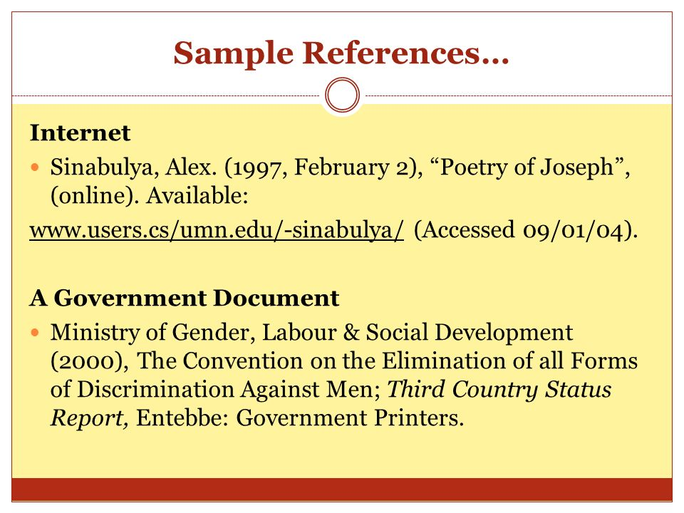 Sample References… Internet
