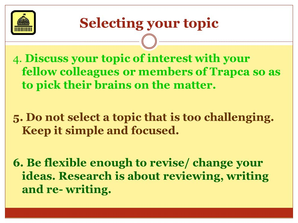 Selecting your topic