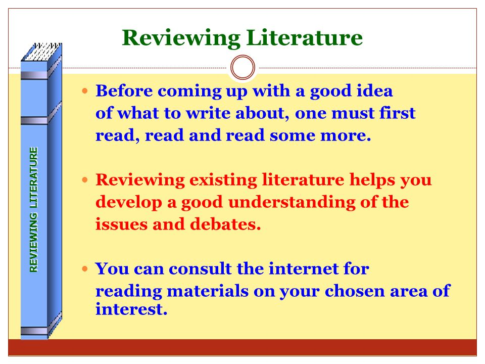 Reviewing Literature Before coming up with a good idea