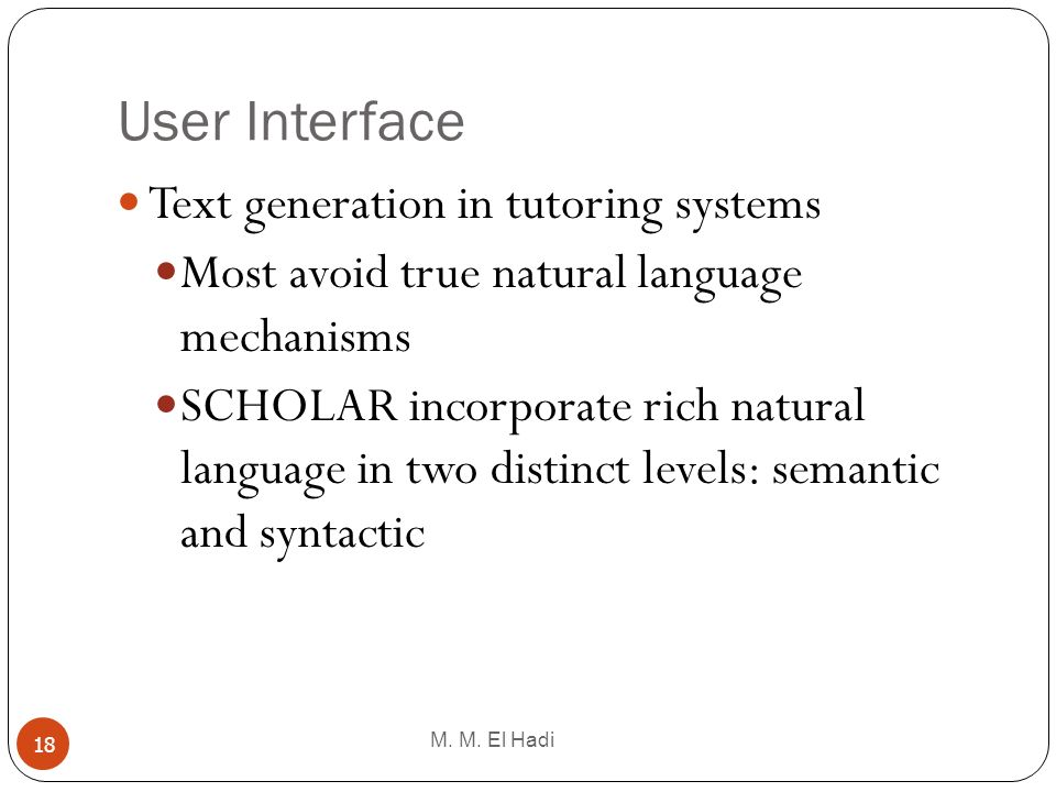 User Interface Text generation in tutoring systems