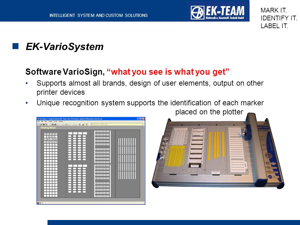 EK-VarioSystem Software VarioSign, what you see is what you get