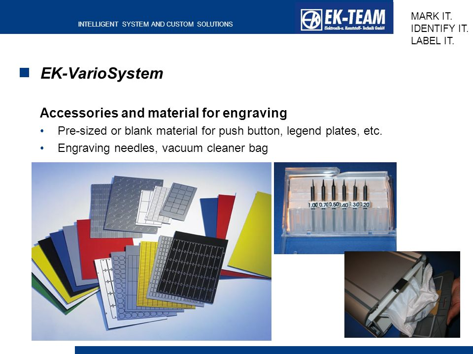 EK-VarioSystem Accessories and material for engraving
