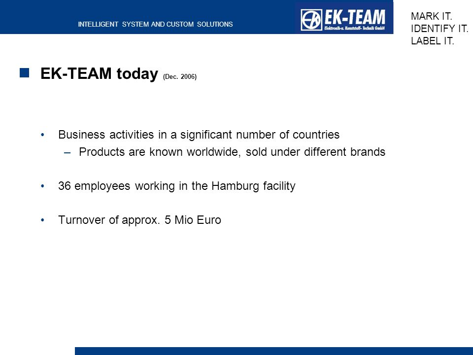 EK-TEAM today (Dec. 2006) Business activities in a significant number of countries. Products are known worldwide, sold under different brands.