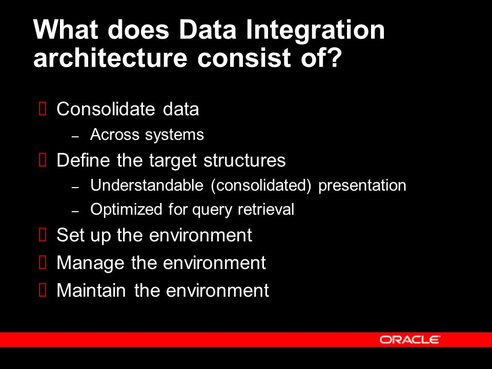 What does Data Integration architecture consist of