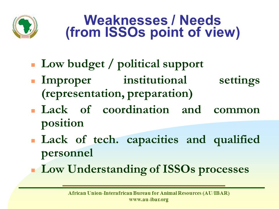 Weaknesses / Needs (from ISSOs point of view)