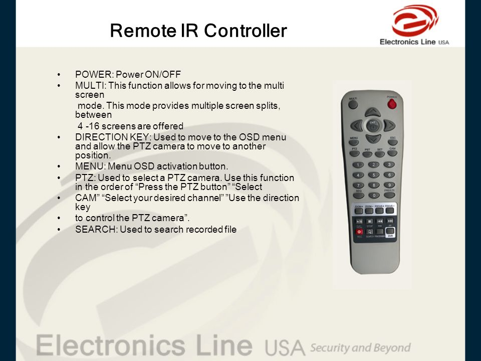 Remote IR Controller POWER: Power ON/OFF