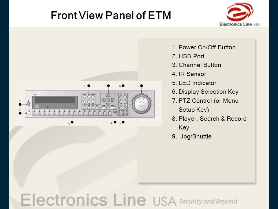 Front View Panel of ETM 1. Power On/Off Button 2. USB Port