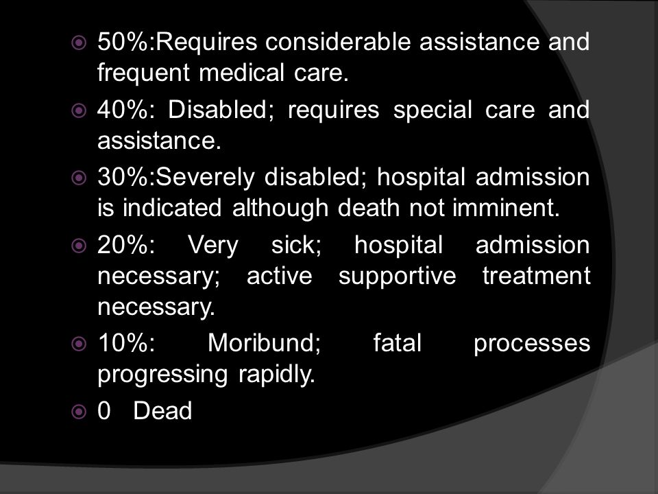 50%:Requires considerable assistance and frequent medical care.