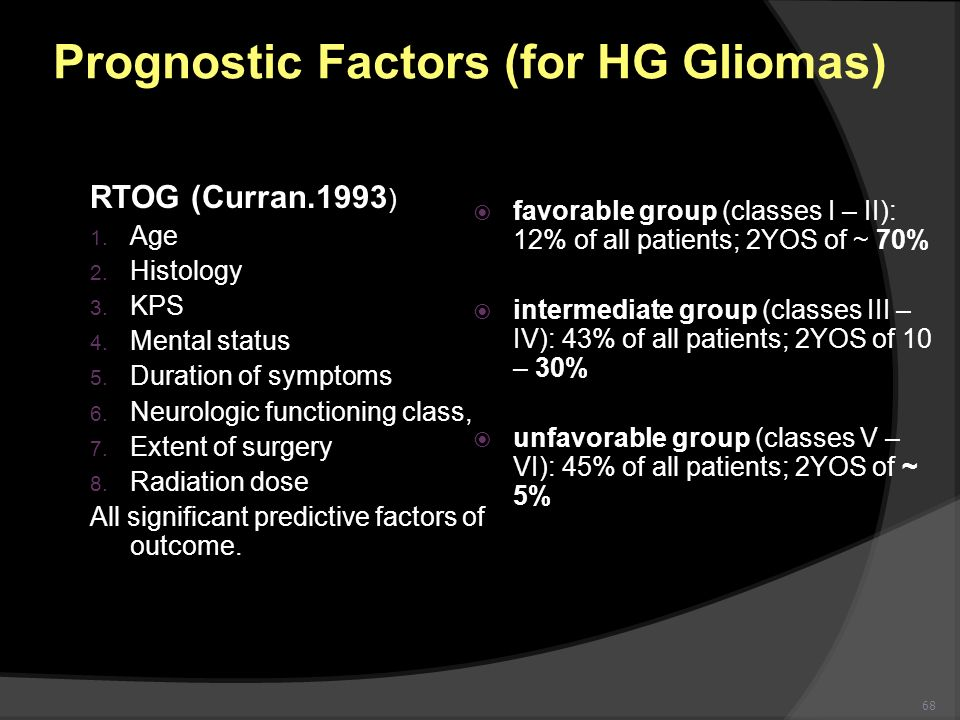 Prognostic Factors (for HG Gliomas)
