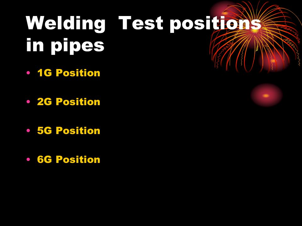 Welding Test positions in pipes