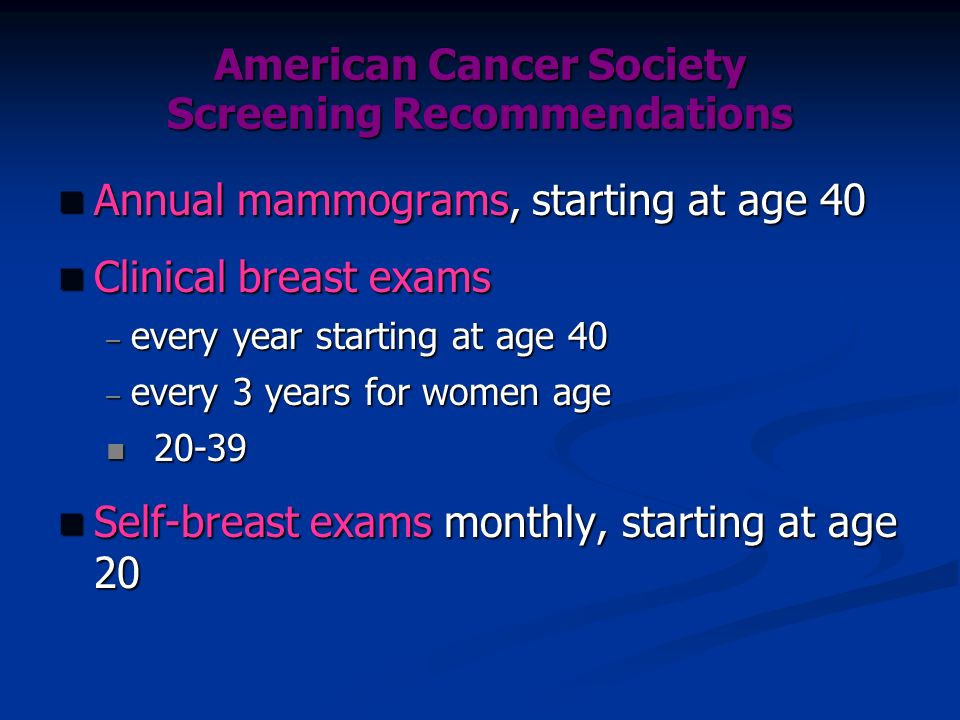 American Cancer Society Screening Recommendations