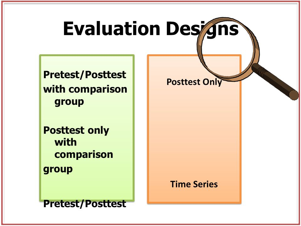 Evaluation Designs Pretest/Posttest Posttest Only