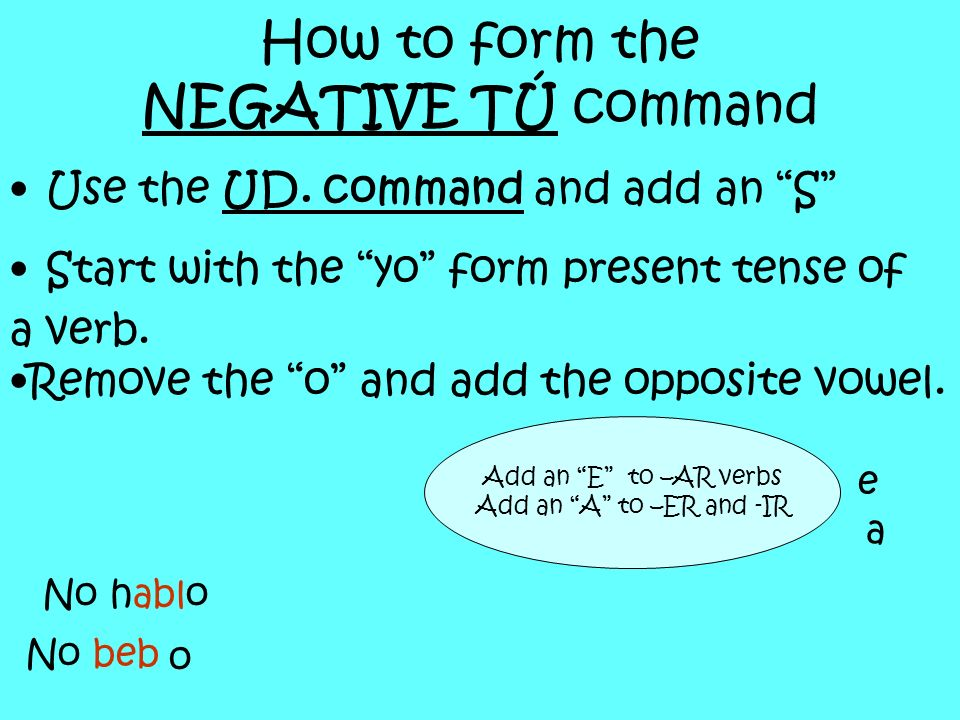 How to form the NEGATIVE TÚ command