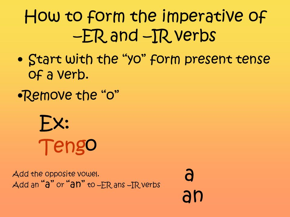 How to form the imperative of –ER and –IR verbs