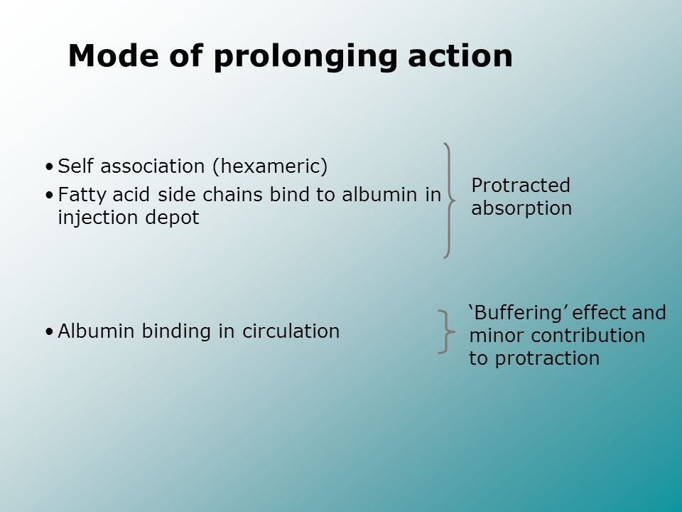 Mode of prolonging action