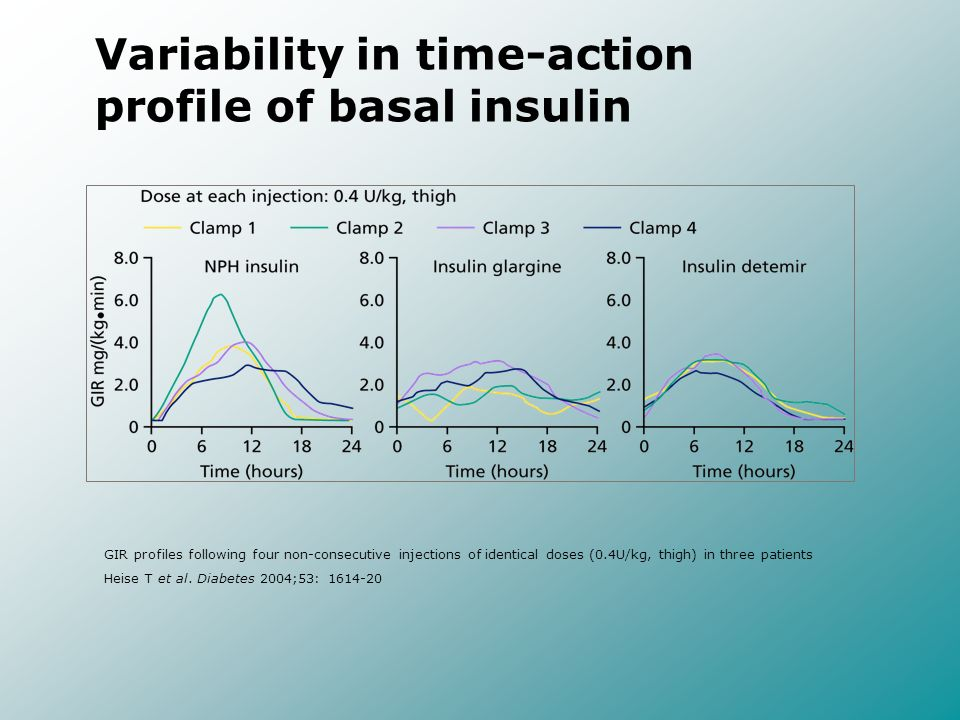 Variability in time-action profile of basal insulin