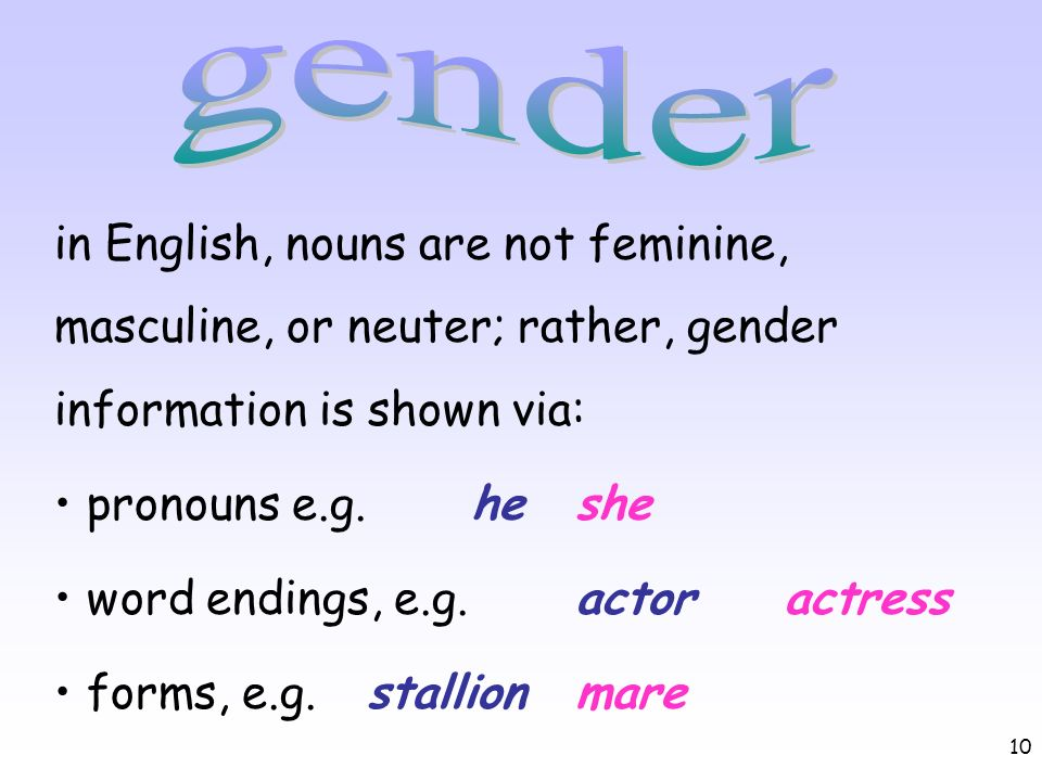 gender in English, nouns are not feminine, masculine, or neuter; rather, gender information is shown via: