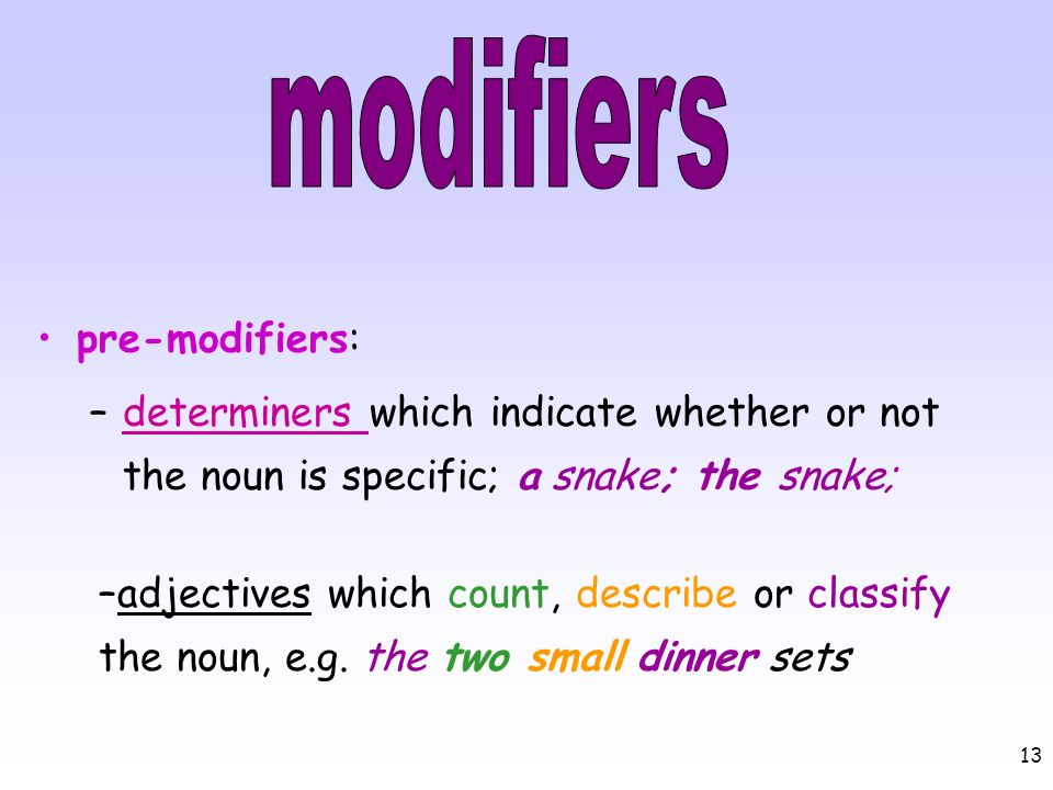 modifiers pre-modifiers: