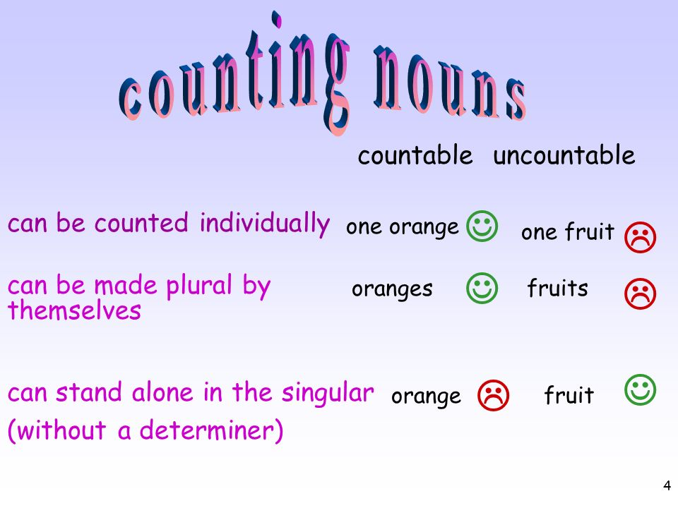 counting nouns       countable uncountable