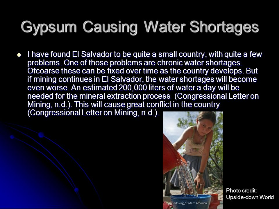 Gypsum Causing Water Shortages