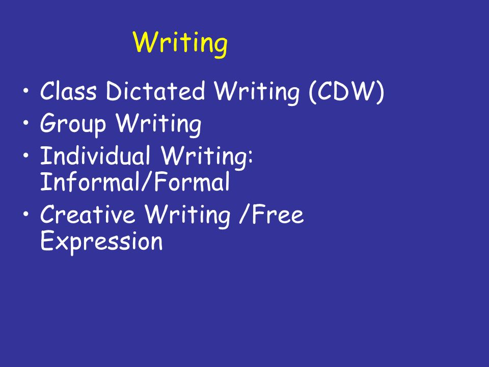 Writing Class Dictated Writing (CDW) Group Writing
