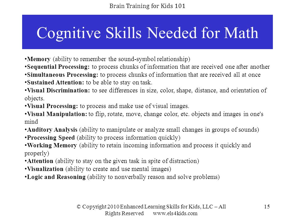 Cognitive Skills Needed for Math