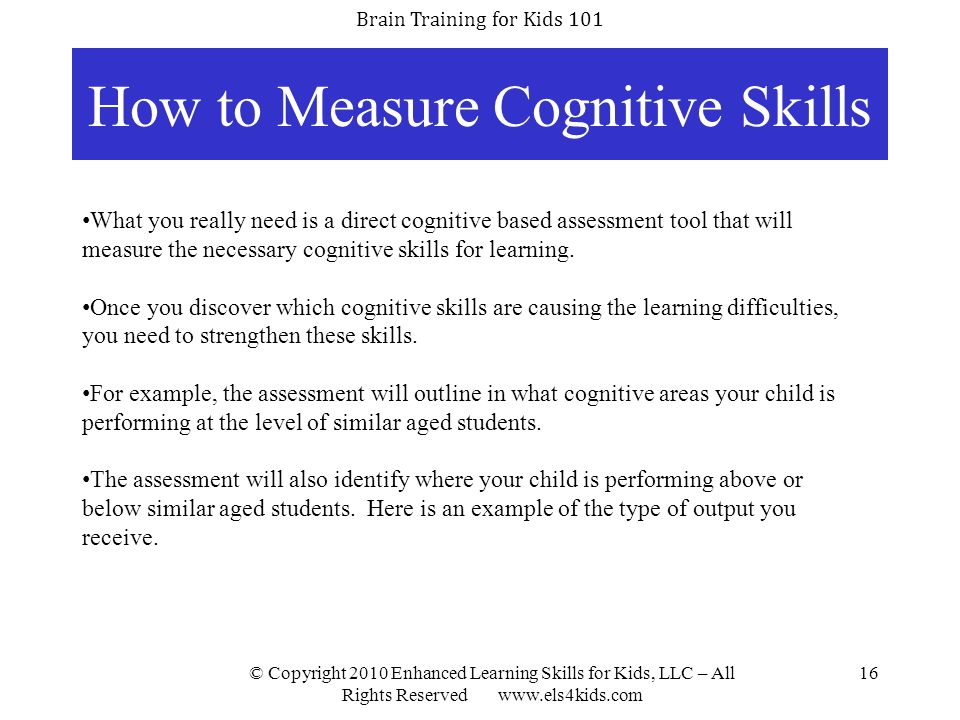 How to Measure Cognitive Skills