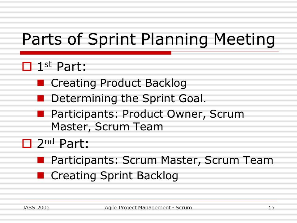 Parts of Sprint Planning Meeting