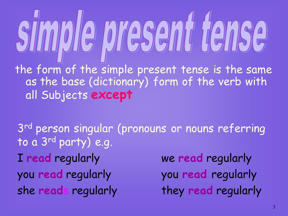 simple present tense the form of the simple present tense is the same as the base (dictionary) form of the verb with all Subjects except.
