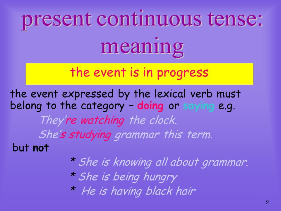 present continuous tense: meaning