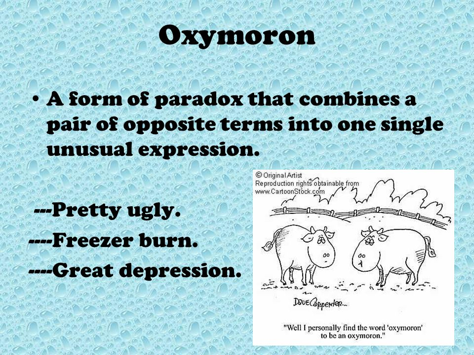 Oxymoron A form of paradox that combines a pair of opposite terms into one single unusual expression.